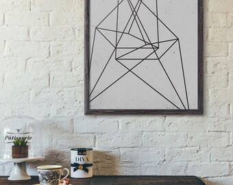 Wire Line Art, Minimalist Wall Art, Modern Art Printable, Scandinavian Decor, Industrial, Instant Download Art, Abstract Art Print, D114