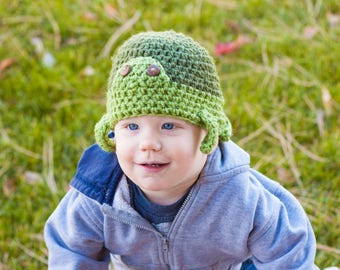 Crochet turtle hat/ tortoise ear flap cap/ green sea turtle hat/ preemie, baby,child,adult animal hat/ crochet animal hat/ sizing options