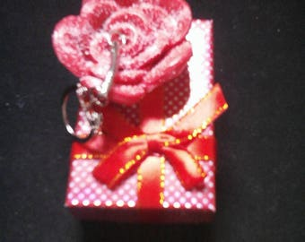 """Tangy red rose"" themed handbag charm"