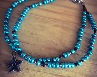 Blue and copper anklet