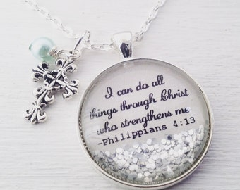 I can do all things through Christ who strengthens me/Philippians 4:13 necklace/bible verse jewelry/bible verse necklace/Christian jewelry