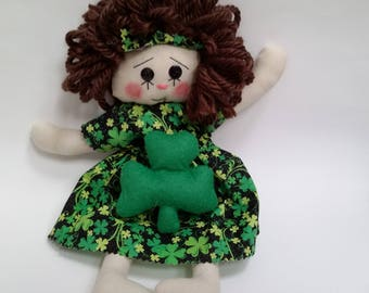 St Patricks day dolls, primitive rag doll, St Patricks day rag doll, St Patricks raggedy Ann doll, rag doll, primitive doll, raggedy doll