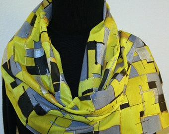 Yellow Gray Silk Scarf Handpainted Silk Shawl GOLDEN PATCHWORK, by Silk Scarves Colorado. Select Your SIZE! Birthday Gift, Anniversary Gift