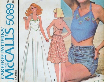 1970s McCalls Misses' Halter Top or Dress Sewing Pattern with Embroidery Transfer Size 12 Bust 34