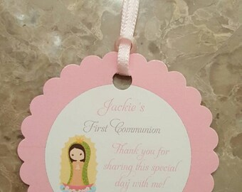 Personalized Favor Tags 2 1/2'', First Communion tags, Thank You tags, Favor tags, Gift tags, girl  first communion, virgen de Guadalupe,