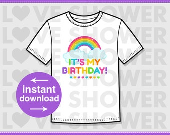 Rainbow Birthday Sticker  Iron On Digital Transfer - Non Personalized - Un-Editable - JPG - LS130