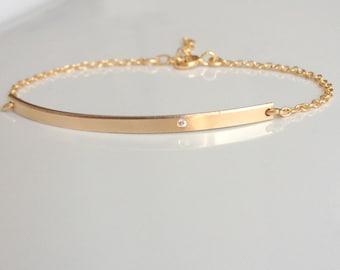 Diamond Bar Bracelet - Gold Nameplate Bracelet - Personalized Bar Bracelet - Tiny Diamond - Skinny Nameplate Bar - Custom ID Bracelet