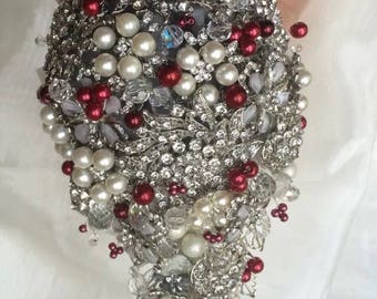 Brooch Bouquet - Red and Clear Crystal Beads