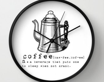 Kitchen Wall Clock - Coffee Funny Vintage Dictionary Quote Wall Clock - Black and White - Original Design - Home decor by Adidit