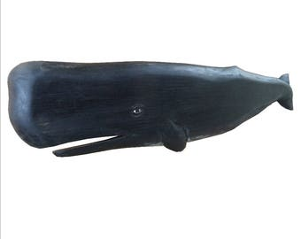3 ft. Hand Carved Black Sperm Whale Wall Hanging