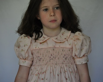 Pink floral traditional hand smocked Girl's dress
