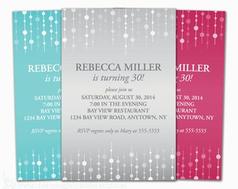 Adult Birthday Invitation for Woman - Choose Color - PRINTABLE File - Invite for Girl Female 30th 40th 50th 60th Birthday Party - Sweet 16