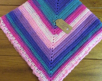 Hand Crocheted baby blanket multi color    FREE SHIP