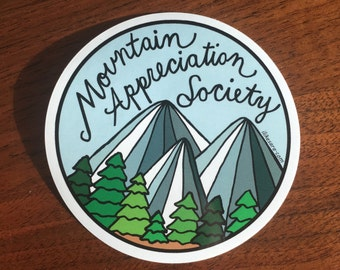Mountain Appreciation Society sticker - UV-resistant waterproof vinyl decal