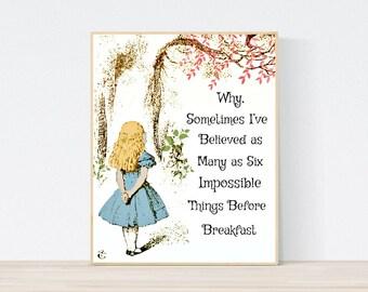 Alice in Wonderland - Printable Art Digital Download, Six Impossible Things Quote, Story Book Art, Nursery Wall Art