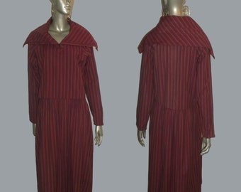 Vintage Adini  Avante Garde 100% Cotton Multicolor Vertical Diagonal Stripe Buttoned Multifunctional High Collar Raglan Sleeve Overlay Dress
