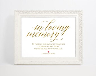 Gold In Loving Memory Sign, Wedding Sign, In Memory Sign, Memory Sign, Wedding Printable, Memorial Table Sign, WPC_894SD1C