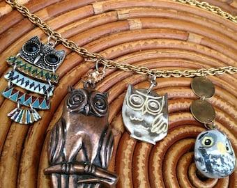 Handmade Owl Statement Charm Necklace