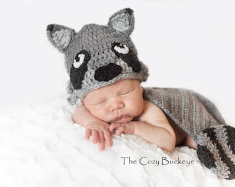 Instant Download Crochet Pattern - Raccoon Hat and Cape Set - Newborn Prop - Animal Character