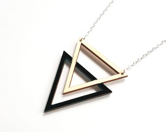 ALIZI.PLAY-WOOD Jewelry - wooden necklace /  triangle outline - black / wooden pendant / geometric necklace / wooden jewelry / for her