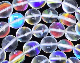 "8mm - 10mm rainbow white quartz nugget beads 16"" strand 36637"