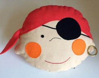 Pillow f. kinder#, Dekokissen#, Motivkissen#, Filz-Kissen,Kinderzimmer#, Seefahrt#, Zierkissen#, Lieblingskissen#, Piraten#, Piratenjonny#