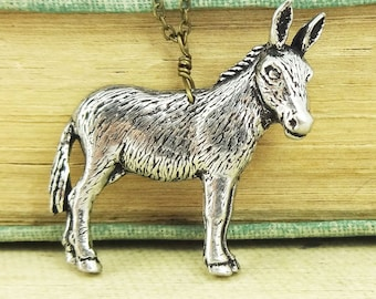 Donkey Necklace. Antiqued Pewter and Antiqued Bronze Chain Necklace Pendant.