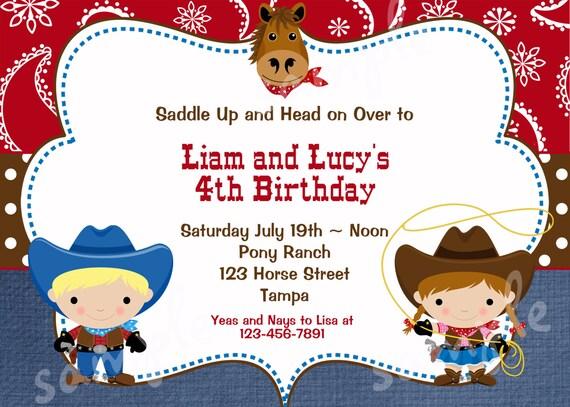 Invitation fête de jumeaux Western anniversaire fête de