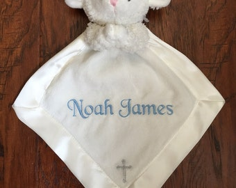 Personalized Baptism Christening Lamb Security Blanket Lovey Blankie