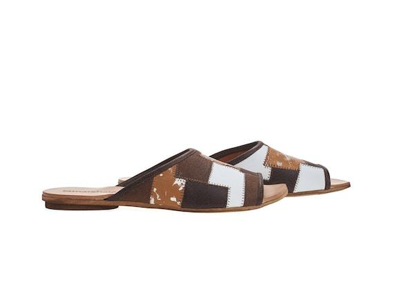flat sliders Brown Helena leather handmade sandals qawPAt