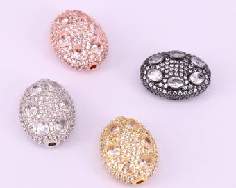 5Pcs Metal Cubic Zirconia Oval Shape Spacer Beads CZ Crystal Micro Pave Jewelry For Charm Bracelet Making