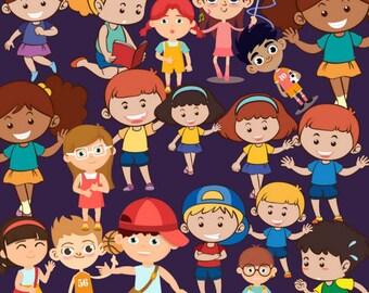 Kids Clipart Children Clipart Boy Clipart Girl Clip Art Kid Character Clipart children Cartoon Clipart Set African American Cute Kid Clipart
