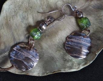Long Basha bead copper earrings peridot basha bead with unique handmade copper discs primitive boho long dangling earrings OOAK artisan made