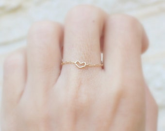 Dainty Gold Heart Ring -  Tiny Love Ring Stackable Gold or Silver Rings -  Rose gold Heart Ring.