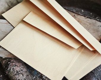 Wood Envelopes  Set of 2,  Wooden, Rustic Wedding, Invitation