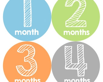 Baby Month Stickers, Baby Boy Gift, Milestone Stickers, Monthly Sticker, Monthly Baby Boy Stickers, Baby Month Milestone Stickers 108