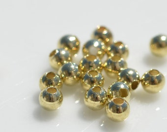 100   Round 3mm Gold Plated Beads BD103