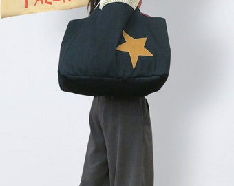 XXL bag blue made of denim, denim shoulder bag, denim shopper, oversized denim bag, large denim bag, everyday bag denim