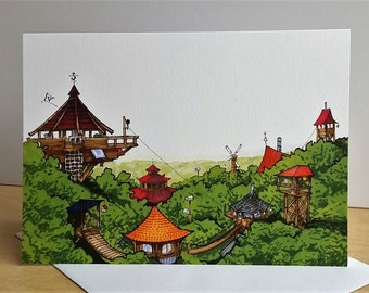 Treehouse Greeting Card/ Tiny House Card/ Greeting Card/ Handmade Card/ Blank Card/ Fine Art Card/ Quirky Card/ Tiny Houses / Random