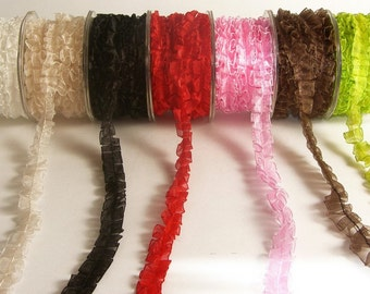 5/8 Inch Sheer Organza Box Pleat Ribbon by the yard Lots of Colors to Choose From