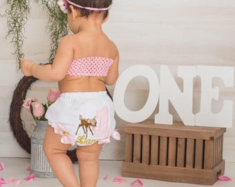 baby girls first birthday diaper cover with pink #1 and bambi