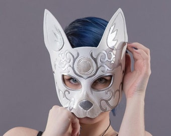 Leather Cat Mask in White - Scroll Carving