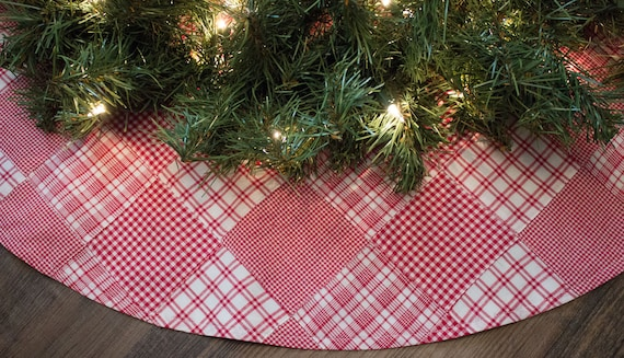Country Christmas Tree Skirt-Red Tree Skirt-Plaid Tree