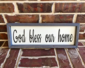Rustic God Bless Our Home Sign. FREE SHIPPING