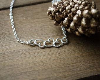 3 Hearts Necklace - Sterling Silver - Mom of 3