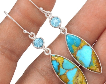 """SALE! Beautiful, Pilot Mountain Turquoise with Blue Topaz Accents. Sterling Silver Earrings. 2 1/8"""" Long. 1231"""