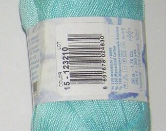Alize Miss crochet thread size 10, 100% mercerized cotton, #15 Aqua blue