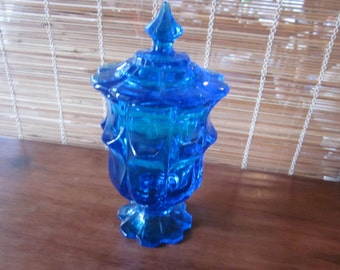 gorgeous deep turquoise covered candy dish, beautiful color