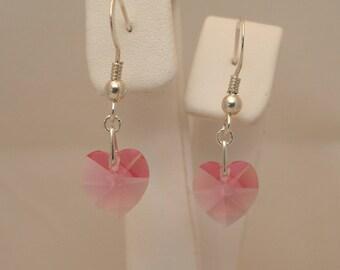 10mm Rose (Pink) Swarovski Crystal Heart & Sterling Silver Earrings