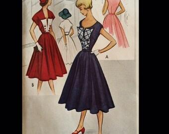 Vintage 50s Sleeveless Full Skirt Day Dress w/ Bolero Sewing Pattern 8874 B29